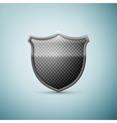 Silver shield emblem icon isolated on blue vector image