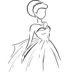Symbolic bride in dress vector image vector image