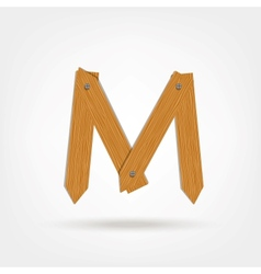 Wooden Boards Letter M vector image vector image