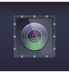 Action camera in a protective housing with bolts vector image