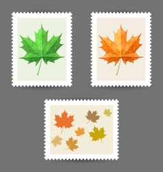 Postage stamps with maple leaf icons vector image vector image