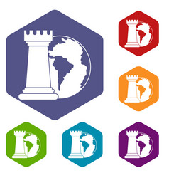 World planet and chess rook icons set hexagon vector