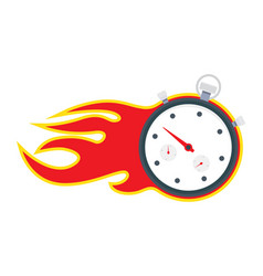 stopwatch with fire frame vector image