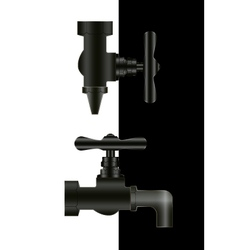 Two water taps on black and white background vector image