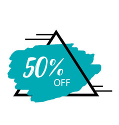 50 off triangle frame blue background sale banner vector image