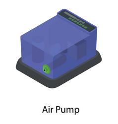 Aquarium air pump icon isometric style vector
