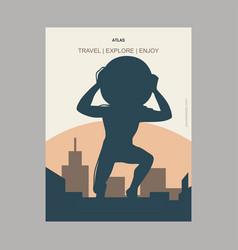 Atlas vintage style landmark poster template vector