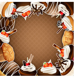 background frame with sticker cupcakes vector image