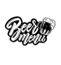 beer menu lettering phrase with mug vector image