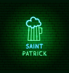 beer saint patric neon label vector image