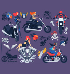 biker on motorcycle set vector image