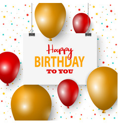 birthday poster with hanging signs and balloons vector image