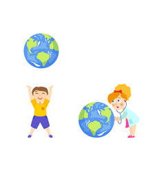 Boy and girl plaing with big glove save the earth vector