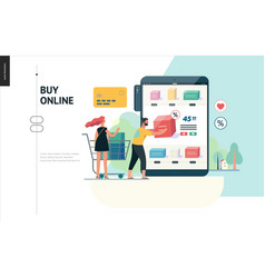 business series - buy online shop web template vector image