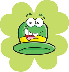 Cartoon derby hat with a shamrock background vector image