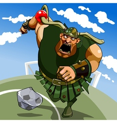 cartoon hefty Viking in a horned helmet playing vector image