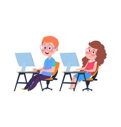 Children and computer science informatics lesson vector