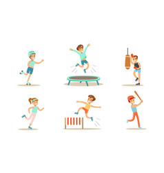 children doing different kind sports set teen vector image