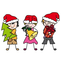 Children dressed as santa claus vector