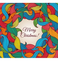 Christmas greeting card with colorful twirls vector image
