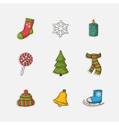 Christmas set icons in doddle style vector image