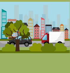 cityscape and road scene vector image