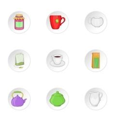 Coffee icons set cartoon style vector image