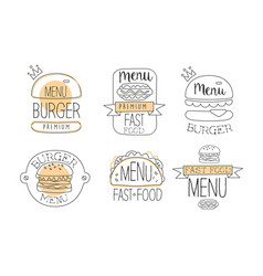 collection emblems for burger vector image