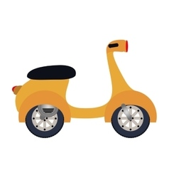 Colorful silhouette with yellow scooter vector
