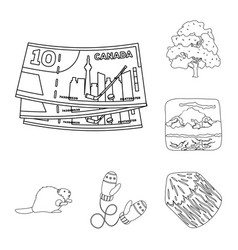 Country canada outline icons in set collection for vector