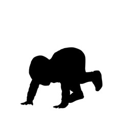 Crawling boy silhouette on white vector