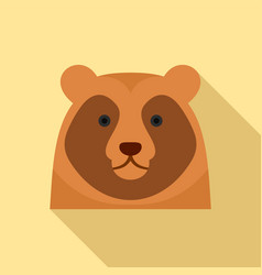 Cute bear head icon flat style vector
