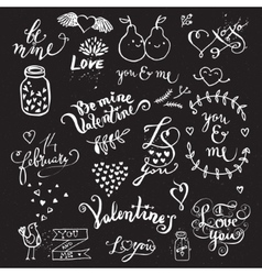 Cute hand drawn symbols of Love vector