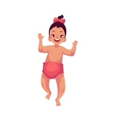 Cute little baby girl dancing happily vector