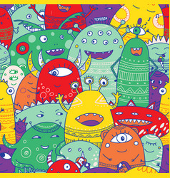cute monsters crowd seamless pattern in boho style vector image