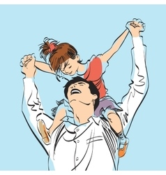 dad with little girl on his shoulders vector image vector image