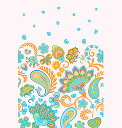 Damask style paisley floral vertical seamless vector