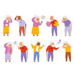 Dementia people old men and women suffering vector