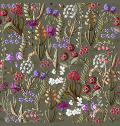 Ditsy seamless pattern with wild flowers vector