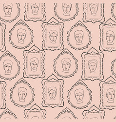 Doodle faces portrait frames sketchy seamless vector