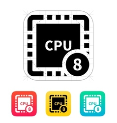 Eight Core CPU icon vector image