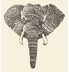 Ethnic elephant head hand drawn sketch vector