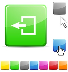 Exit glossy button vector