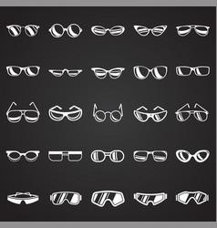 Eyeglasses icons set on black background for vector