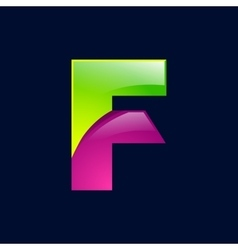 F letter green and pink logo design template vector image