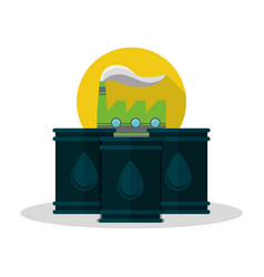 factory oil barrels energy environment vector image