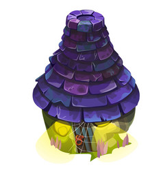 Fairy house with a blue shingle roof with glowing vector