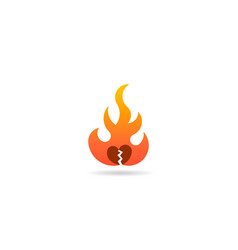 fire flame with broken heart logo symbol vector image
