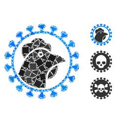 Flare mesh 2d chicken flu virus with flare spots vector