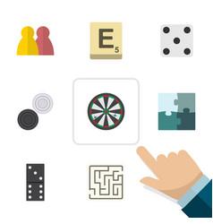 Flat icon games set of mahjong backgammon bones vector